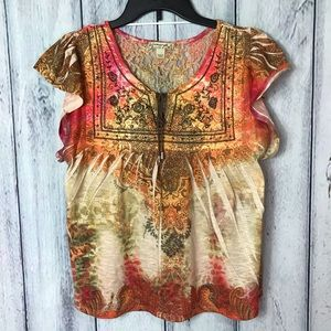 Energe Boho Top With Lace Back Sz Small